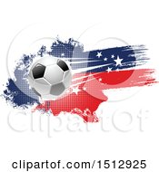 Clipart Of A Soccer Ball And Grungy Flag Banner Royalty Free Vector Illustration by Vector Tradition SM