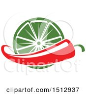 Clipart Of A Mexican Chile Pepper And Lime Design Royalty Free Vector Illustration by Vector Tradition SM