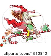 Christmas Witch Flying On A Candy Cane