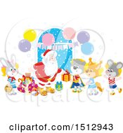 Clipart Of A Group Of Animal Children Visiting Santa And Receiving Christmas Gifts Royalty Free Vector Illustration