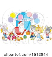 Clipart Of A Cartoon Group Of Animal Children Visiting Santa Claus And Receiving Christmas Gifts Royalty Free Vector Illustration by Alex Bannykh