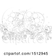 Clipart Of A Black And White Group Of Animals Visiting Santa And Receiving Christmas Presents Royalty Free Vector Illustration