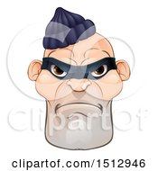 Clipart Of A Tough And Angry White Male Robber Face Royalty Free Vector Illustration by AtStockIllustration