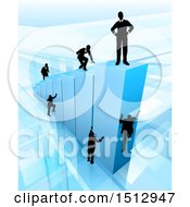 3d Blue Bar Graph With Silhouetted Business Men Competing To Reach The Top
