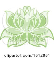 Clipart Of A Green Blooming Lotus Flower Royalty Free Vector Illustration by AtStockIllustration