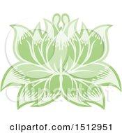 Poster, Art Print Of Green Blooming Lotus Flower