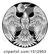 Black And White Woodcut Or Engraved Phoenix Firebird In A Circle