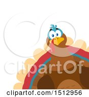 Clipart Of A Peeking Thanksgiving Turkey Bird Royalty Free Vector Illustration