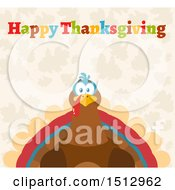 Clipart Of A Happy Thanksgiving Greeting Over A Turkey Bird Royalty Free Vector Illustration
