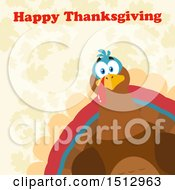 Happy Thanksgiving Greeting Over A Peeking Turkey Bird Over Leaves