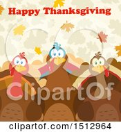 Happy Thanksgiving Greeting Over Turkey Birds Over Leaves