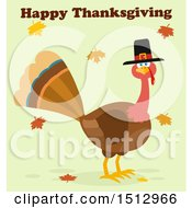 Happy Thanksgiving Greeting Over A Pilgrim Turkey Bird And Falling Leaves
