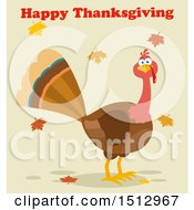 Happy Thanksgiving Greeting Over A Turkey Bird And Falling Leaves