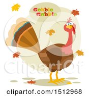 Clipart Of A Thanksgiving Turkey Bird Gobbling And Autumn Leaves Royalty Free Vector Illustration