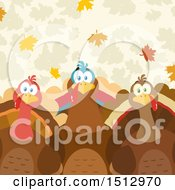 Clipart Of A Group Of Thanksgiving Turkey Birds Over Leaves Royalty Free Vector Illustration