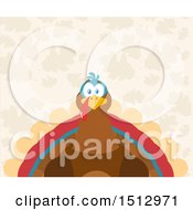 Clipart Of A Thanksgiving Turkey Bird Over Leaves Royalty Free Vector Illustration