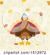 Clipart Of A Thanksgiving Turkey Bird And Falling Leaves Royalty Free Vector Illustration