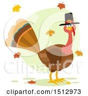 Thanksgiving Pilgrim Turkey Bird And Falling Leaves