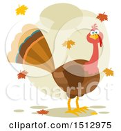 Clipart Of A Talking Thanksgiving Turkey Bird And Falling Leaves Royalty Free Vector Illustration