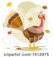 Talking Thanksgiving Turkey Bird And Falling Leaves