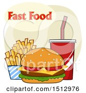 Clipart Of A Cheeseburger French Fries And Fountain Soda With Fast Food Text Royalty Free Vector Illustration