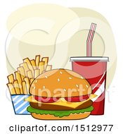 Clipart Of A Cheeseburger French Fries And Soda Fast Food Meal Royalty Free Vector Illustration