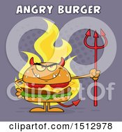 Poster, Art Print Of Flaming Devil Cheeseburger Mascot Holding A Trident With Angry Burger Text Over Purple