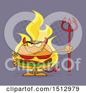 Poster, Art Print Of Flaming Devil Cheeseburger Mascot Holding A Trident Over Purple
