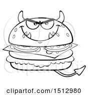 Clipart Of A Black And White Devil Cheeseburger Mascot Royalty Free Vector Illustration