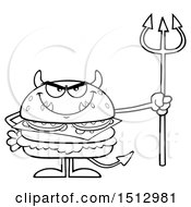 Clipart Of A Black And White Devil Cheeseburger Mascot Holding A Trident Royalty Free Vector Illustration