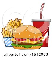 Clipart Of A Cheeseburger French Fries And Fountain Soda Fast Food Meal Royalty Free Vector Illustration