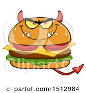Clipart Of A Devil Cheeseburger Mascot Royalty Free Vector Illustration by Hit Toon