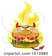 Clipart Of A Flaming Devil Cheeseburger Mascot Royalty Free Vector Illustration by Hit Toon