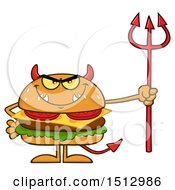 Clipart Of A Devil Cheeseburger Mascot Holding A Trident Royalty Free Vector Illustration by Hit Toon