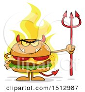 Poster, Art Print Of Flaming Devil Cheeseburger Mascot Holding A Trident