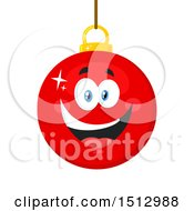 Clipart Of A Happy Red Christmas Bauble Ornament Mascot Character Royalty Free Vector Illustration