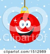 Clipart Of A Happy Red Christmas Bauble Ornament Mascot Character Over Snow Royalty Free Vector Illustration