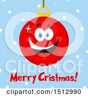Clipart Of A Merry Christmas Greeting And Happy Red Bauble Ornament Mascot Character Over Snow Royalty Free Vector Illustration