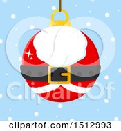 Santa Suit Christmas Bauble Ornament Over Snow