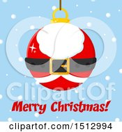 Merry Christmas Greeting And Santa Suit Christmas Bauble Ornament Over Snow