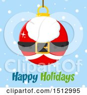 Happy Holidays Greeting And Santa Suit Christmas Bauble Ornament Over Snow