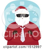Clipart Of A Christmas Santa Claus Wearing Virtual Reality Glasses Royalty Free Vector Illustration by BNP Design Studio