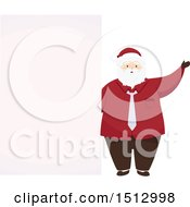 Clipart Of A Christmas Santa Claus By A Blank Sign Royalty Free Vector Illustration