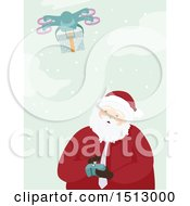 Christmas Santa Claus Operating A Drone To Send A Present