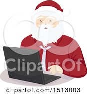 Clipart Of A Christmas Santa Claus Using A Laptop Royalty Free Vector Illustration