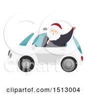 Christmas Santa Claus Waving From A Self Driving Car