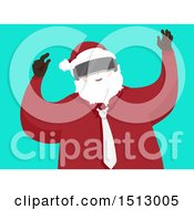 Clipart Of A Modern Christmas Santa Claus Wearing Virtual Reality Goggles Royalty Free Vector Illustration by BNP Design Studio