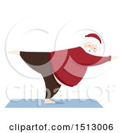 Clipart Of A Christmas Santa Claus Doing Yoga Royalty Free Vector Illustration by BNP Design Studio