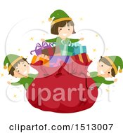 Clipart Of A Group Of Christmas Elf Kids Around Santas Sack Royalty Free Vector Illustration by BNP Design Studio