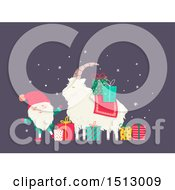 Clipart Of A Tomte Christmas Santa Claus With A Yule Goat And Presents Royalty Free Vector Illustration by BNP Design Studio